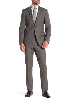 Tommy Hilfiger Tan Blue Plaid Two Button Notch Lapel Classic Fit Suit