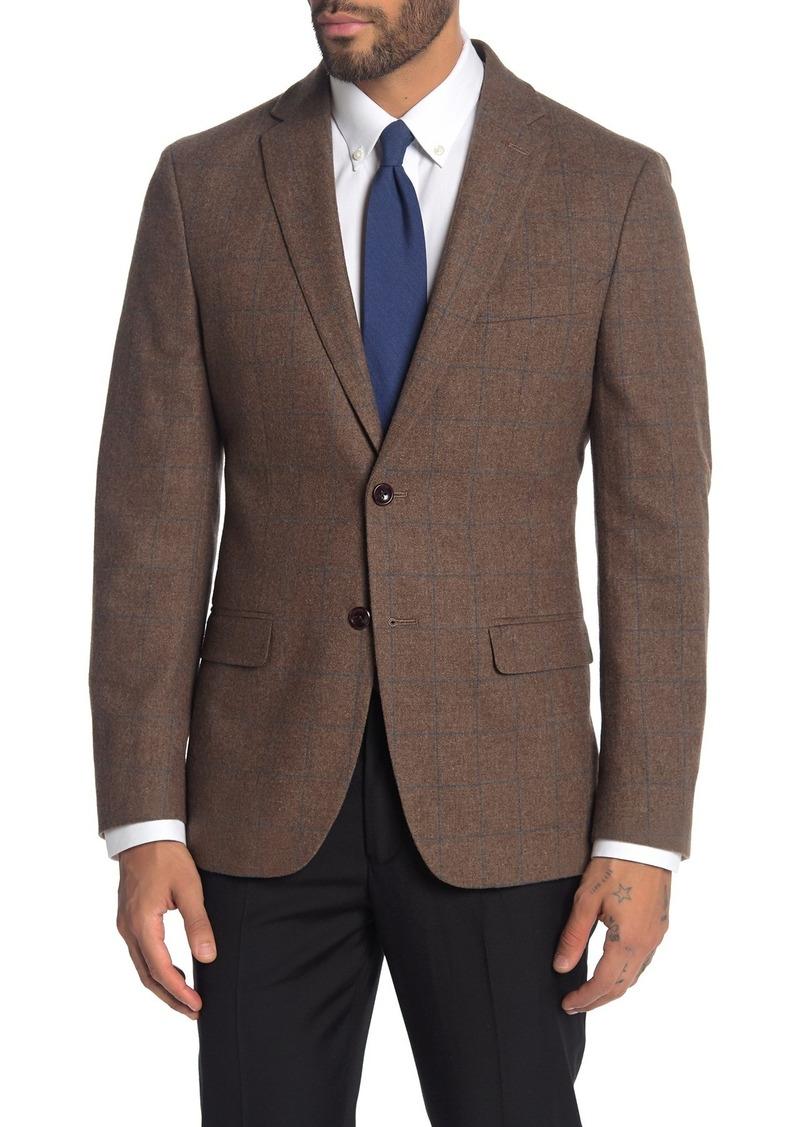 Tommy Hilfiger Tan Grid Two Button Notch Lapel Spot Coat