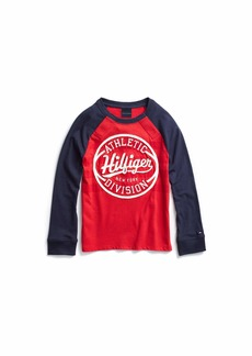 Tommy Hilfiger Adaptive Boys' Big Long Sleeve T Shirt Touch Fastener Closure Racing red