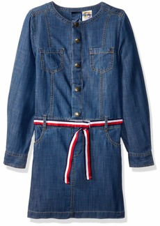 Tommy Hilfiger Adaptive Girls' Little Denim Dress with Magnetic Buttons Aziz wash