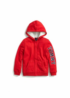 Tommy Hilfiger Adaptive Girl's Little Hoodie Sweatshirt with Magnetic Buttons and Faux Fur Lining Racing red