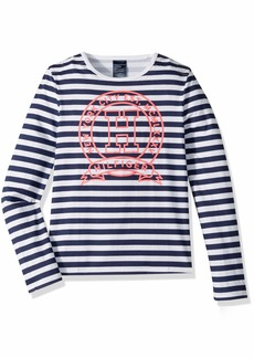 Tommy Hilfiger Adaptive Girls' Long Sleeve T Shirt with Velcro Shoulder Closure