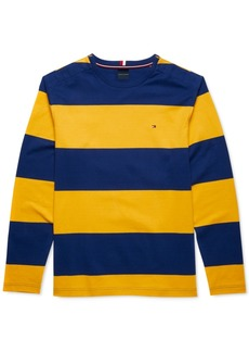 Tommy Hilfiger Adaptive Men's Bold Rugby Stripe Long Sleeve T-Shirt with Magnetic Buttons at Shoulders