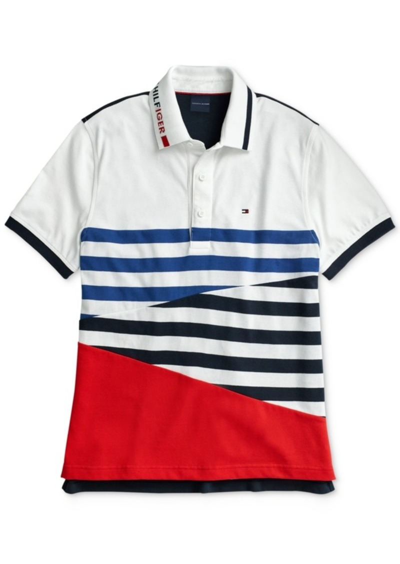 Tommy Hilfiger Adaptive Men's Colorblocked Stripe Polo with Magnetic Closures