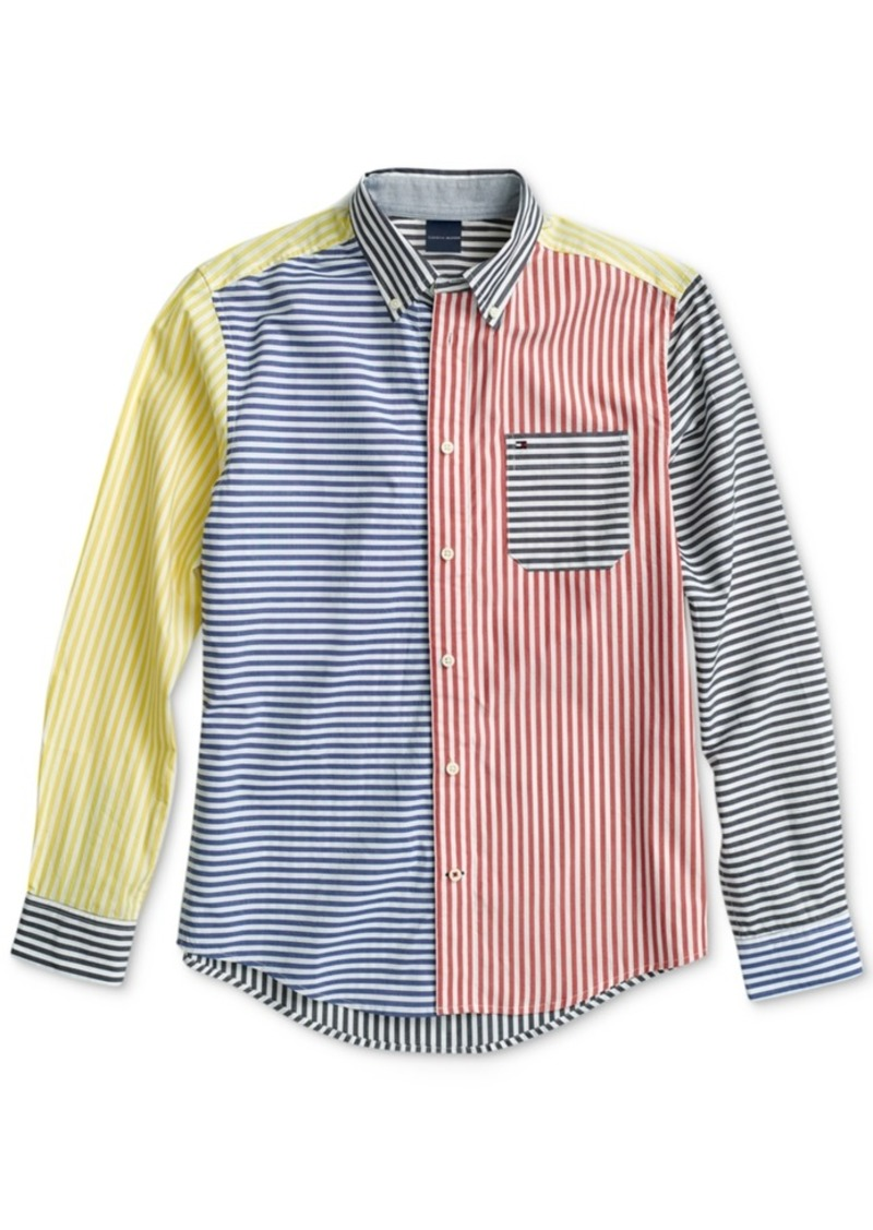 Tommy Hilfiger Adaptive Men's Colorblocked Stripe Shirt with Magnetic Buttons