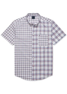 Tommy Hilfiger Adaptive Men's Custom-Fit Adrien Pieced Plaid Magnetic Short Sleeve Button Down Shirt