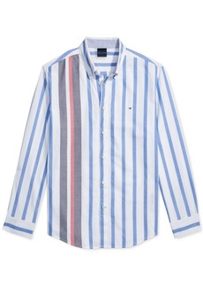 Tommy Hilfiger Adaptive Men's Custom-Fit Gould Stripe Oxford Magnetic Long Sleeve Button Down Shirt