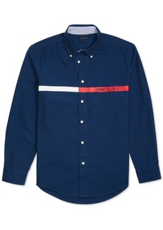 Tommy Hilfiger Adaptive Men's Custom-Fit Jordy Oxford Print Magnetic Long Sleeve Button Down Shirt