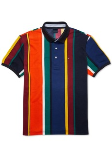 Tommy Hilfiger Adaptive Men's Custom-Fit Junior Striped Polo Shirt with Magnetic Buttons