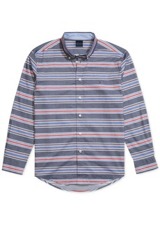 Tommy Hilfiger Adaptive Men's Custom-Fit Marky Twill Stripe Stretch Magnetic Long Sleeve Button Down Shirt