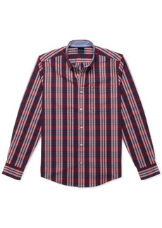 Tommy Hilfiger Adaptive Men's Custom-Fit Nash Plaid Stretch Magnetic Long Sleeve Button Down Shirt