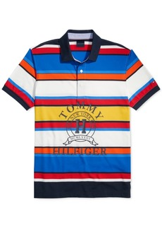 Tommy Hilfiger Adaptive Men's Custom-Fit Spruce Striped Logo Polo Shirt with Magnetic Buttons