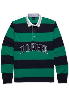 Tommy Hilfiger Adaptive Men's Custom-Fit Washington Stripe Long Sleeve Polo Shirt with Magnetic Buttons