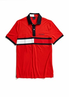 Tommy Hilfiger Adaptive Men's Polo Shirt with Magnetic Buttons Custom Fit Apple RED MD