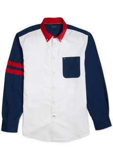 Tommy Hilfiger Adaptive Men's Zay Pieced Oxford Magnetic Long Sleeve Button Down Shirt