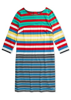Tommy Hilfiger Adaptive Women's Hudson Multi Striped Shift Dress with Magnetic Closure