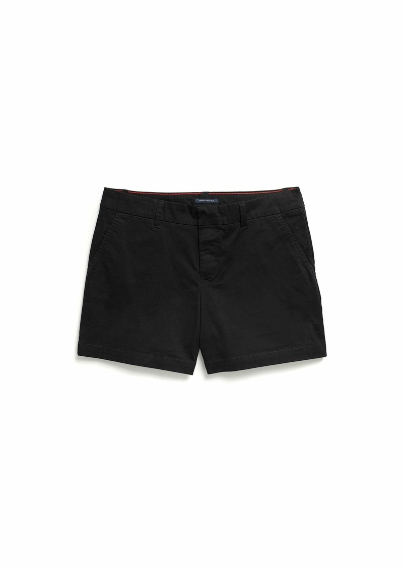Tommy Hilfiger Adaptive Women's Stretch Shorts with Velcro Brand Closure and Magnetic Fly The The Deep black
