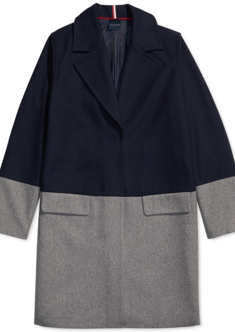 Tommy Hilfiger Adaptive Women's Wool Coat With Hidden Snap Closure
