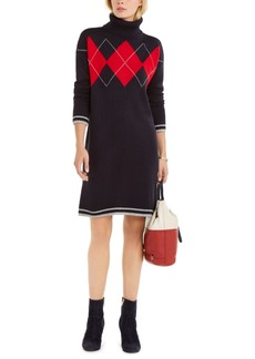 Tommy Hilfiger Argyle-Print Sweater Dress, Created For Macy's