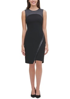 Tommy Hilfiger Asymmetrical Faux-Leather-Trim Dress