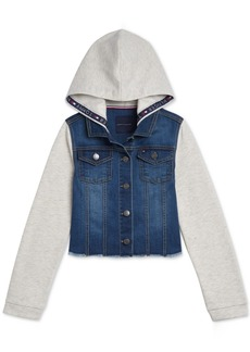 Tommy Hilfiger Baby Girls Mixed-Media Hooded Denim & Fleece Jacket