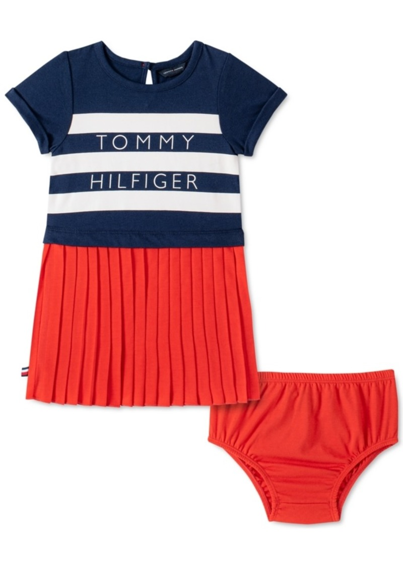 Tommy Hilfiger Baby Girls Pleated Logo Dress