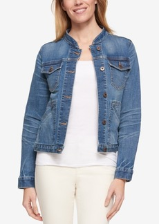 Tommy Hilfiger Band-Collar Denim Jacket, Only at Macy's