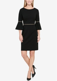 Tommy Hilfiger Bell-Sleeve Contrast-Trim Sheath Dress