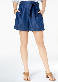 Tommy Hilfiger Belted Denim Shorts, Created for Macy's