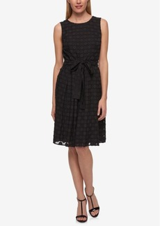 Tommy Hilfiger Belted Dot-Texture Fit & Flare Dress