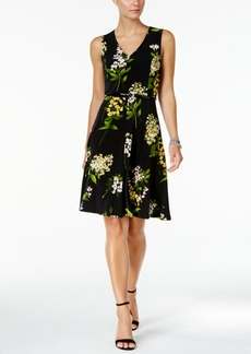 Tommy Hilfiger Belted Floral-Print A-Line Dress