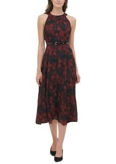 Tommy Hilfiger Belted Floral-Print Chiffon Midi Dress