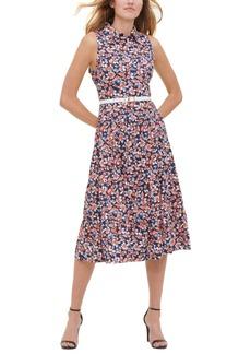 Tommy Hilfiger Belted Floral Print Cotton Dress