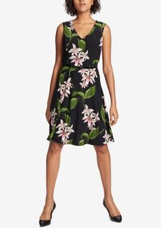 Tommy Hilfiger Floral-Printed Belted Fit & Flare Dress