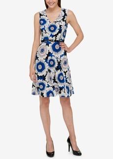 Tommy Hilfiger Belted Floral-Print Fit & Flare Dress