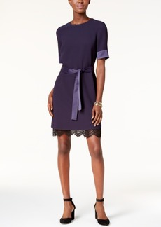 Tommy Hilfiger Belted Lace-Hem Dress, Created for Macy's