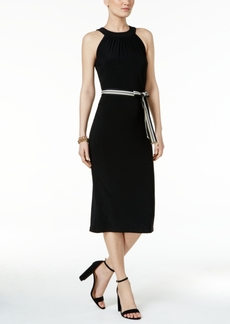 Tommy Hilfiger Belted Midi Sheath Dress