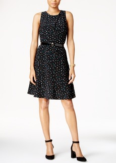 Tommy Hilfiger Belted Polka-Dot A-Line Dress