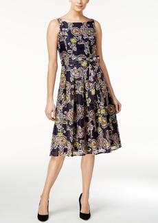 Tommy Hilfiger Belted Printed Fit & Flare Dress
