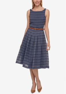 Tommy Hilfiger Belted Shadow-Stripe Dress, Only at Macy's