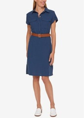 Tommy Hilfiger Belted Shirtdress, Only at Macy's