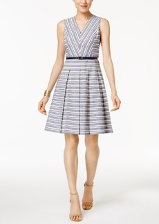 Tommy Hilfiger Belted Striped Fit & Flare Dress