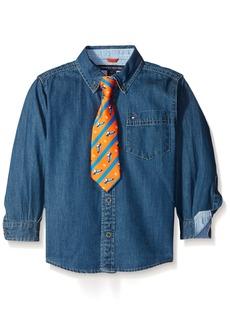 Tommy Hilfiger Big Boys Bradford Woven Shirt Medium Blue Large