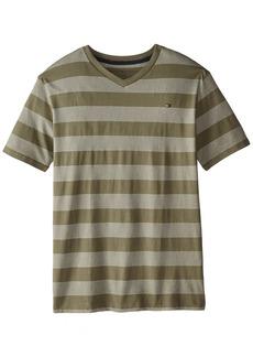 Tommy Hilfiger Big Boys' Jersey Stripe Short Sleeve V-Neck Tee  Medium