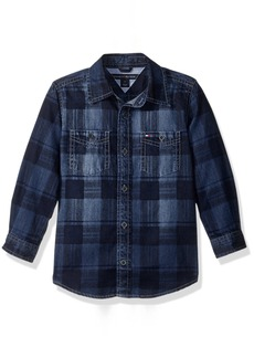 Tommy Hilfiger Big Boys Maxwell Printed Denim Shirt  Large