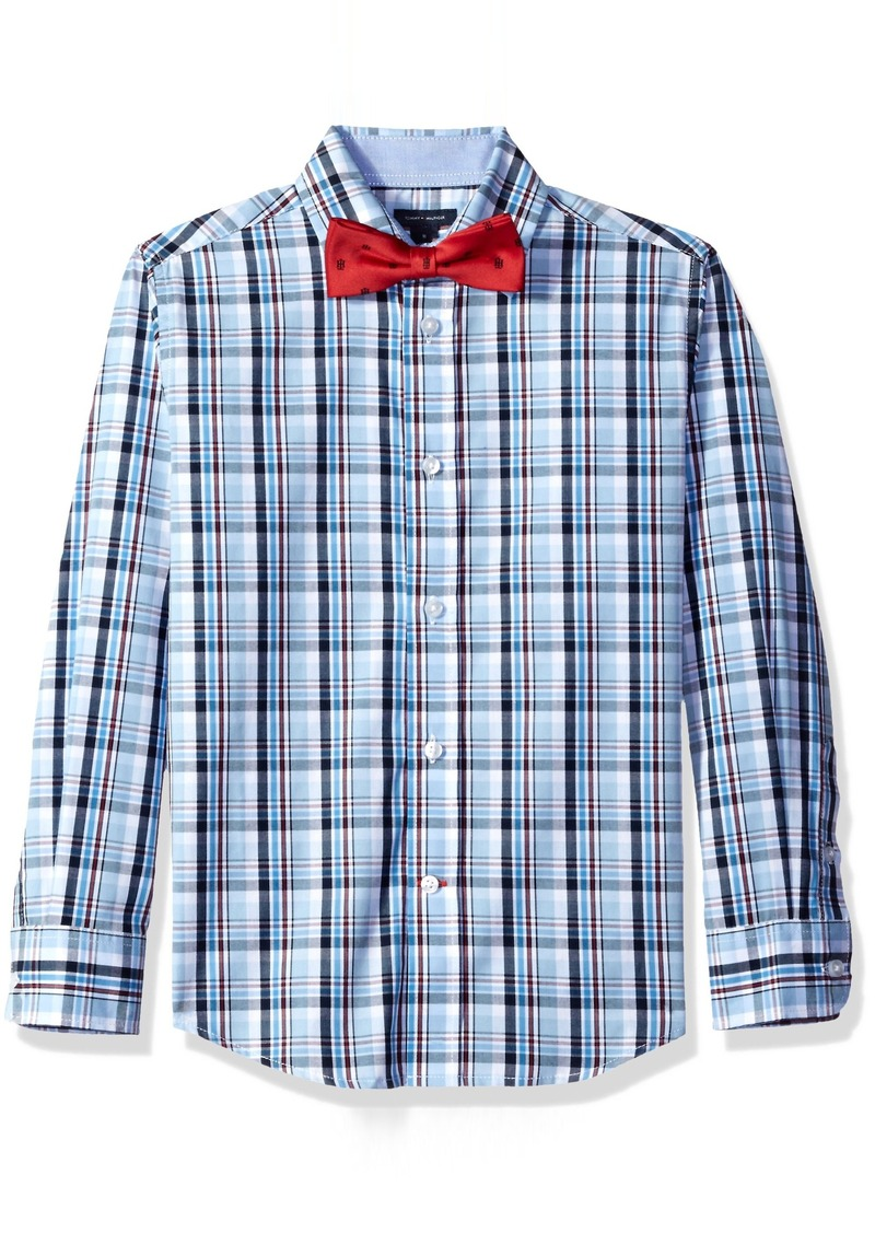 5cefc33d481d1 Tommy Hilfiger Tommy Hilfiger Big Boys  Plaid Shirt with Bow Tie ...