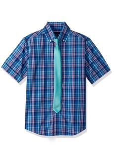Tommy Hilfiger Boys' Big Short Sleeve Plaid Shirt with Tie