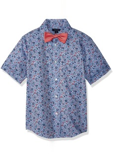 Tommy Hilfiger Big Boys' Short Sleeve Woven Shirt with Bow Tie