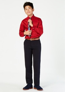 Tommy Hilfiger Big Boys Stretch Solid Shirt with Tie