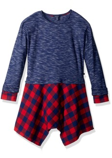 Tommy Hilfiger Girls' Big 2fer Rib and Flannel Dress